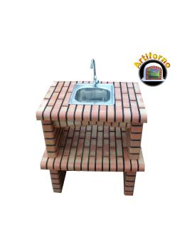 Worktop in Brick w/ Sink and aucet